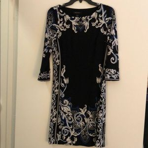 White House Black Market Stretchy B/W Blue Dress